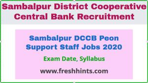 Sambalpur DCCB Peon Support Staff Jobs 2020