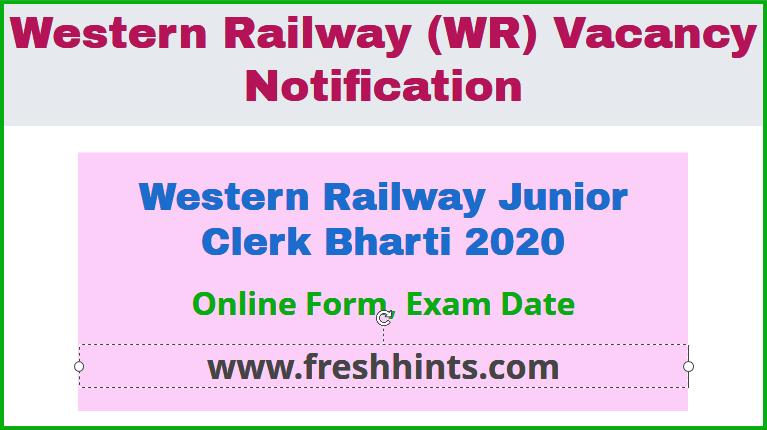 WR Junior Clerk Group C Bharti 2020