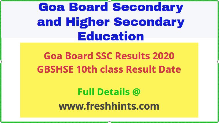 GOA Board Class 10th Result