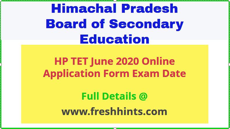 HP TET June 2020 Online Form
