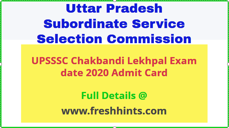 UPSSSC Chakbandi Lekhpal Admit Card 2020