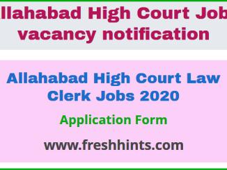 Allahabad High Court Law Clerk Jobs 2020