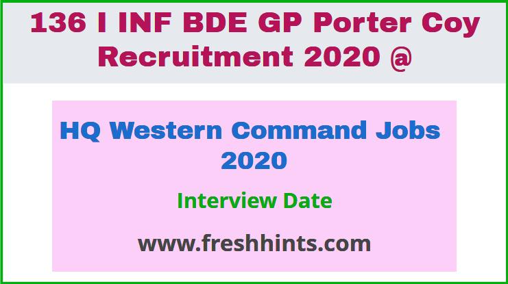 HQ Western Command Jobs 2020