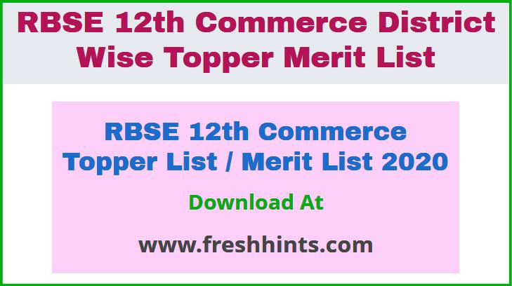 RBSE 12th Commerce Topper List Merit List 2020