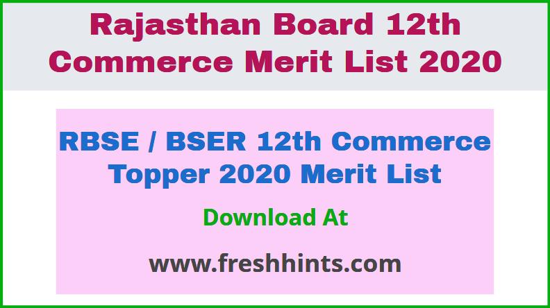 RBSE BSER 12th Commerce Topper 2020 Merit List