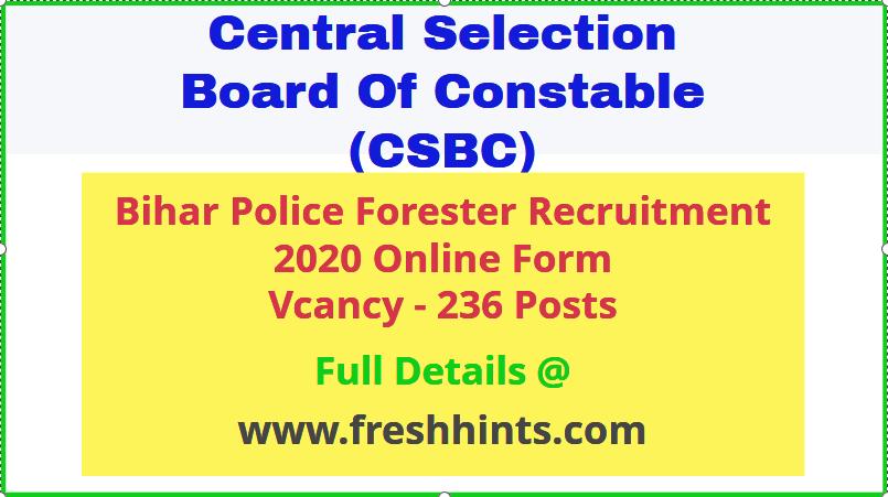 Bihar Police Forester Recruitment