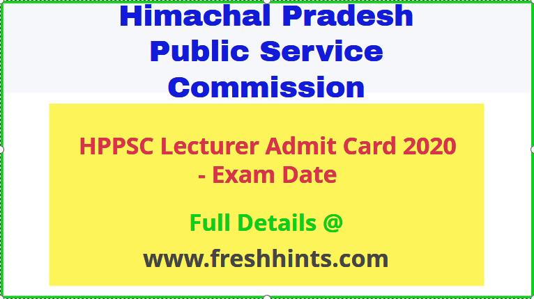 HPPSC Lecturer Admit Card