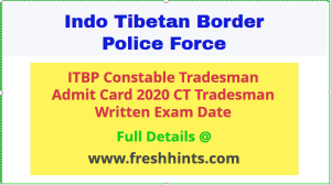 ITBP CT Tradesman Admit Card