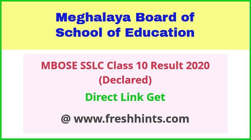 Meghalaya Board 10th Result 2020