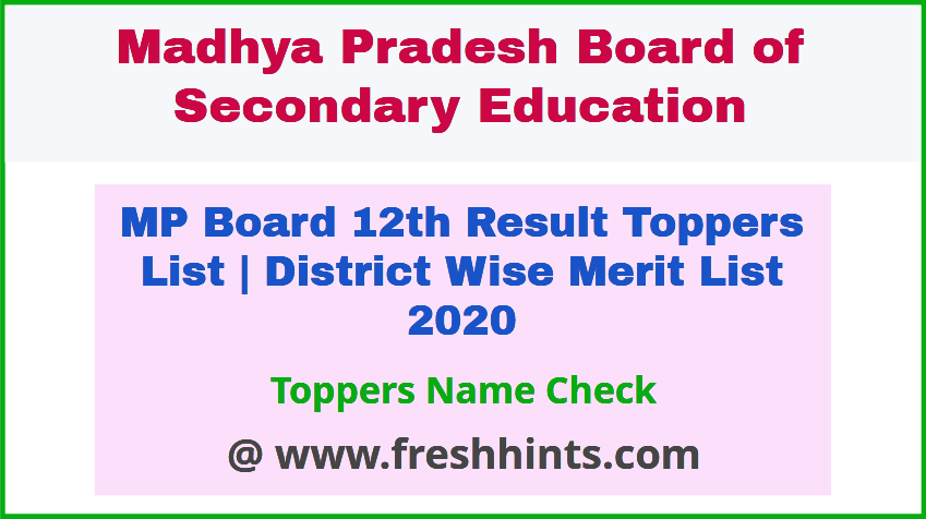 MPBSE Class 12 Topper Merit List 2020