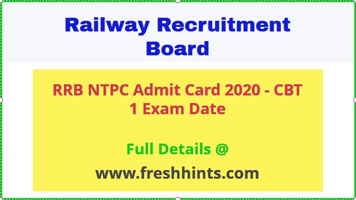 Railway NTPC Admit Card