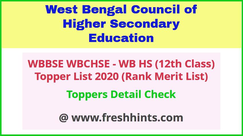 WBCHSE Class 12 Rank Merit List 2020