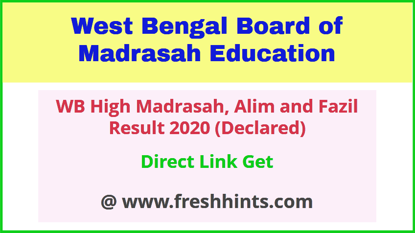 West Bengal Madrasah Board Exam Results 2020