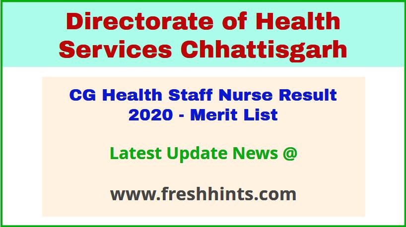DHS Chhattisgarh Swasthya Vibhag Staff Nurse Selection List 2020
