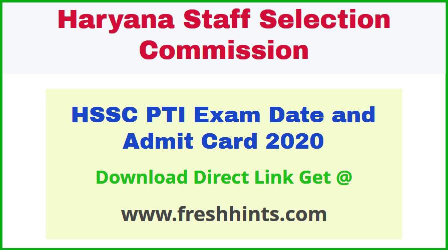 Haryana PTI Hall Ticket 2020