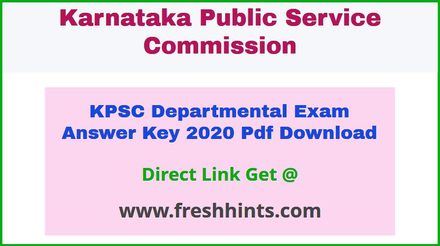 Karnataka Departmental Exam Key Answer Sheet 2020