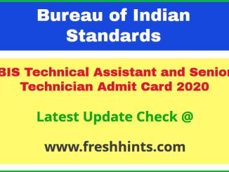 Bureau of Indian Standards TA ST Hall Ticket 2020