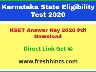 Karnataka SET Key Answer Sheet 2020 Pdf Download