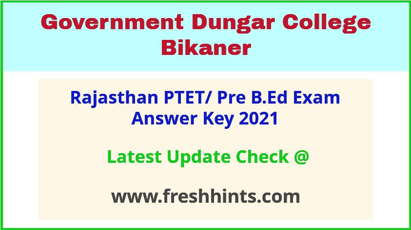 Rajasthan Pre B.Ed Entrance Exam Answer Key 2021