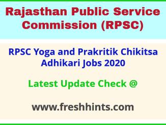 RPSC Yoga and Prakritik Chikitsa Adhikari Jobs 2020