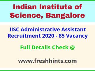 IISC AA Vacancy Notification 2020