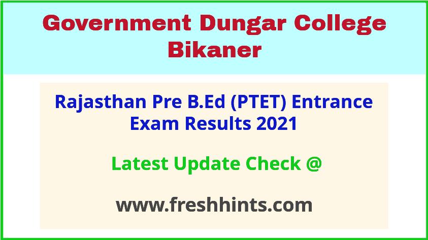 Rajasthan Pre B.Ed Entrance Exam Results 2021