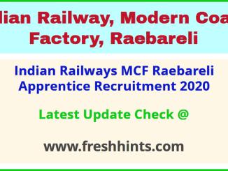 Indian Railways MCF Raebareli Apprentice Recruitment 2020