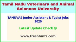 TANUVAS Junior Assistant & Typist Jobs 2020