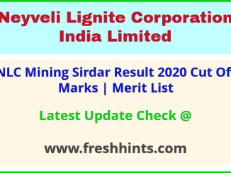 NLCIL Mining Sirdar Selection List 2020