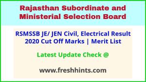 Rajasthan Junior Engineer Results Selection List 2021