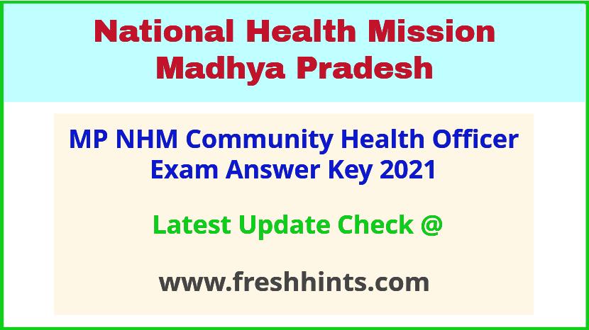 SAMS MP Community Health Officer Exam Answer Sheet 2021