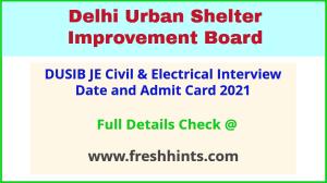 Delhi Shelter Board Junior Engineer Call Letter 2021