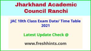 Jharkhand Board Class 10 Exam Date Sheet 2021