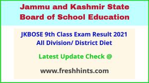 JK Board Class 9 Annual Exam Results 2021