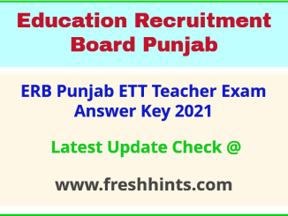 PSEB ETT Teacher Answer Sheet 2021