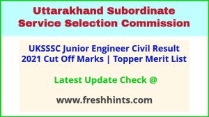 Uttarakhand Junior Engineer Civil Selection List 2021
