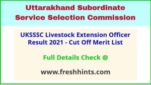 Uttarakhand Pashudhan Prasar Adhikari Result Selection List 2021