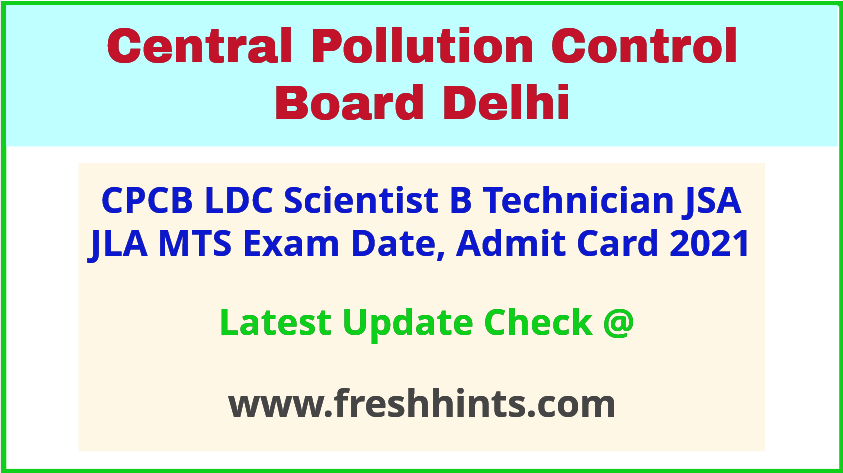 Central Pollution Control Board Exam Hall Ticket 2021