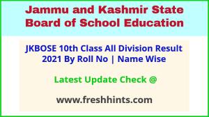 JK Board Class 10 Exam Results 2021