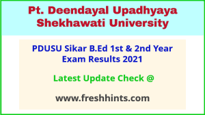 PDUSU Sikar BEd Part 1 and 2 Exam Results 2021