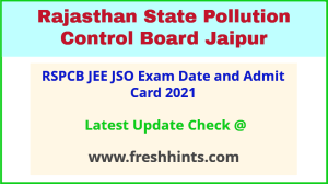Rajasthan Junior Environmental Engineer Hall Ticket 2021