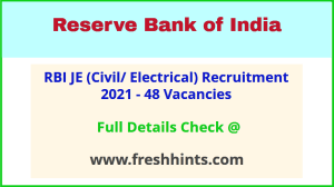 Reserve Bank of India Junior Engineer Vacancy 2021 Full Details