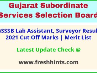 Gujarat Laboratory Assistant Selection List 2021
