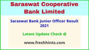 Saraswat Bank Grade B Selection List 2021