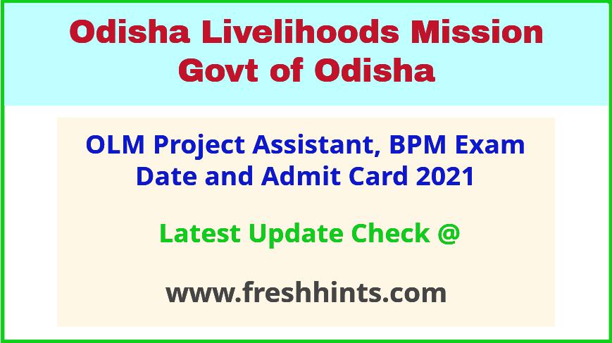 Odisha Livelihood Mission PA BPM Exam Hall Ticket 2021