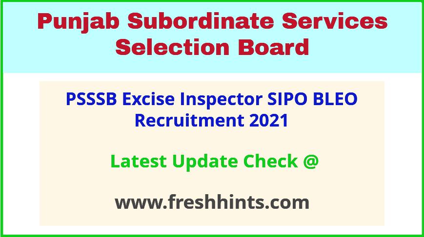 SSSB Punjab SIPO BLEO ETI Vacancy Notification 2021