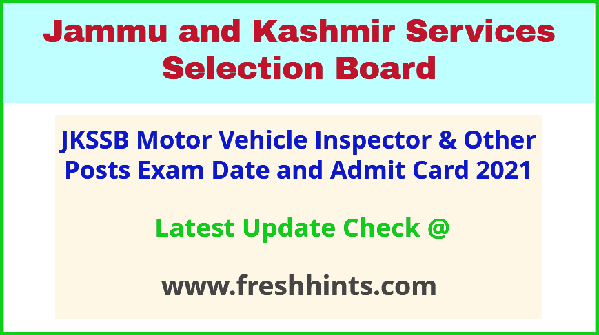 Jammu and Kashmir SSB MVI Exam Hall Ticket 2021