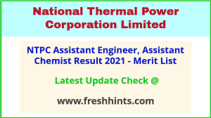 NTPC Assistant Engineer Selection List 2021