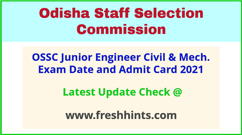 OSSC Junior Engineer Exam Hall Ticket 2021