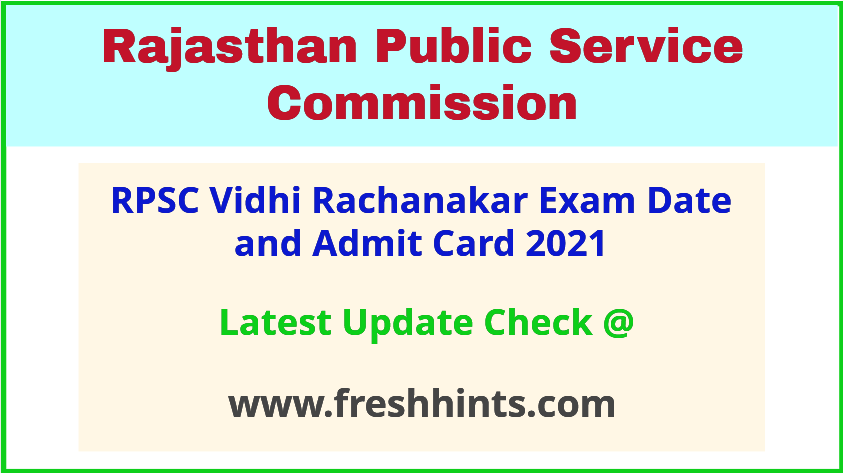 Rajasthan Vidhi Rachanakar Exam Date and Admit Card 2021
